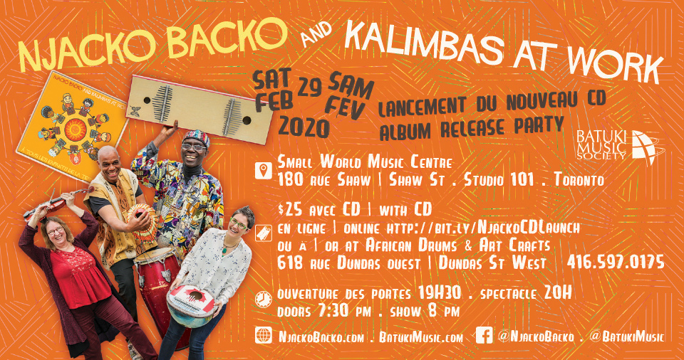 njacko backo kalimbas at work kalimba batuki music society toronto canada cameroon africa african album release nadine mcnulty